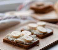 Sandwich with banana Royalty Free Stock Images