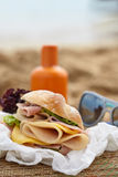 Sandwich on a beach Stock Photo