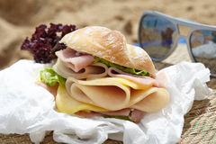 Sandwich on a beach Stock Image