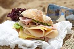 Sandwich on a beach stock image