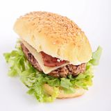 Sandwich with beef and bacon Royalty Free Stock Photos