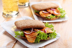 Sandwich and beer Royalty Free Stock Image
