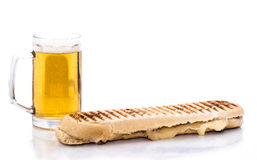 Sandwich and beer. Isolated on white Stock Image