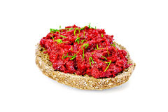 Sandwich with beet caviar and dill Stock Image
