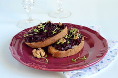 Sandwich with beetroot and walnuts Stock Photo