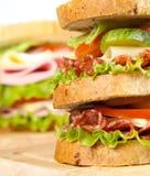 Sandwich. Big sandwich with fresh vegetables royalty free stock photo