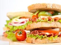 Sandwich. Big sandwich with fresh vegetables stock photo