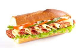 Sandwich. Big sandwich with fresh vegetables isolated on white background stock photos