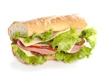 Sandwich. Big sandwich with fresh vegetables isolated on white background stock image