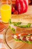 Sandwich. Big sandwich with fresh vegetables and juice on wooden board stock image