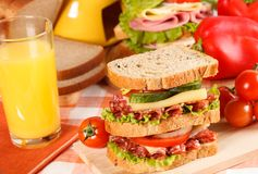 Sandwich. Big sandwich with fresh vegetables on wooden board on table royalty free stock photography