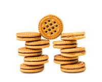 Sandwich biscuits with chocolate filling Royalty Free Stock Photography