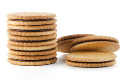 Sandwich biscuits with chocolate Royalty Free Stock Image