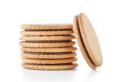 Sandwich biscuits with chocolate Stock Images