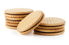 Sandwich biscuits with chocolate Royalty Free Stock Photography
