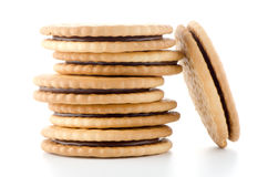 Sandwich biscuits with chocolate Stock Image