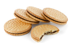 Sandwich biscuits with chocolate Royalty Free Stock Photo