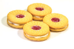 Sandwich biscuits on white background Stock Photos