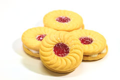 Sandwich biscuits on white background Stock Image