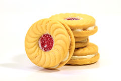 Sandwich biscuits on white background Royalty Free Stock Photography