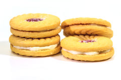 Sandwich biscuits on white background Stock Photography