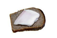 Sandwich from black bread and fat Stock Photos