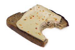 Sandwich from black bread and liver pate Stock Image