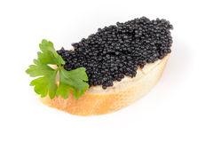Sandwich with black caviar isolated on white Royalty Free Stock Images