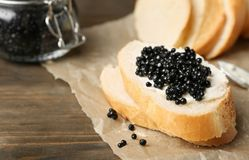Sandwich with black caviar royalty free stock images