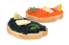Sandwich with black and red caviar Royalty Free Stock Photo