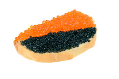 Sandwich with black and red caviar Royalty Free Stock Photography