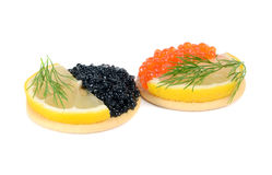 Sandwich with black and red caviar Stock Photo