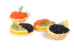 Sandwich with black and red caviar Stock Images