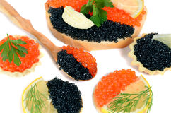 Sandwich with black and red caviar Royalty Free Stock Photos