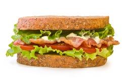Sandwich BLT die op wit wordt geïsoleerde Stock Foto's