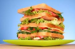 sandwich on blue Stock Photo