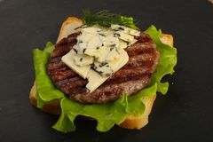 Sandwich with blue cheese and burger cutlet Stock Image