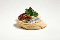 Sandwich with blue cheese, walnut and parsley on the white backg. Round Stock Photography