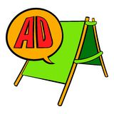 Sandwich board with AD letters icon cartoon Stock Photography