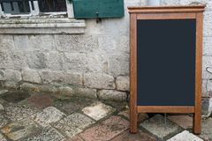 Sandwich Board at the street stock photos
