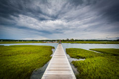 The Sandwich Boardwalk and a wetland, in Sandwich, Cape Cod, Mas Stock Image