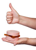 Sandwich with boiled sausage lying on a palm Stock Photo