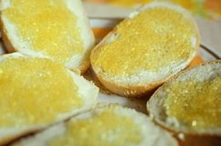 Sandwich of bread, butter and pike caviar. Close-up, selective focus stock photography