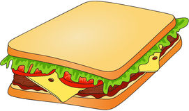 Sandwich. Bread with cheese, tomato, meat and salad. fast food Royalty Free Stock Photography