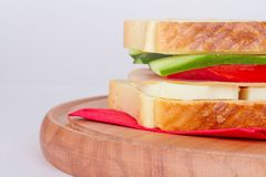 Sandwich Bread with Cheese and Tomato Royalty Free Stock Photos