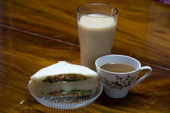 Sandwich bread with milk, coffee. Bread, breakfast sandwiches, coffee and milk Royalty Free Stock Images