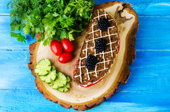 Sandwich bread and tomato, cucumber, blackberry, parsley and dil Royalty Free Stock Photos