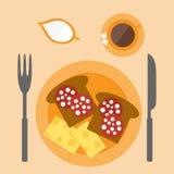 Sandwich on the breakfast. Flat sandwich on the breakfast Royalty Free Stock Photo