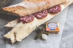 Sandwich with brie and salami Royalty Free Stock Images