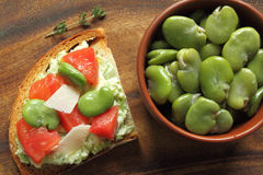 Sandwich  with broad bean Stock Photography
